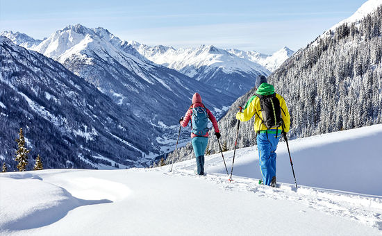 Snow shoe walks Through the untouched winter landscape